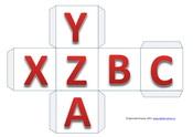 Развертка куба, английский алфавит, буквы XYZABC